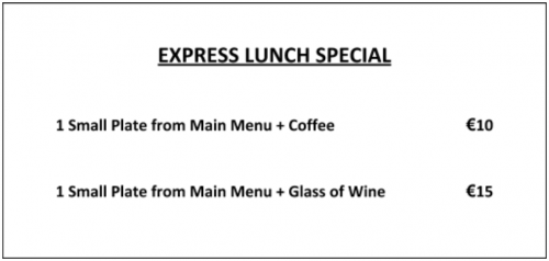 Express Lunch Special The Grapevine Dalkey