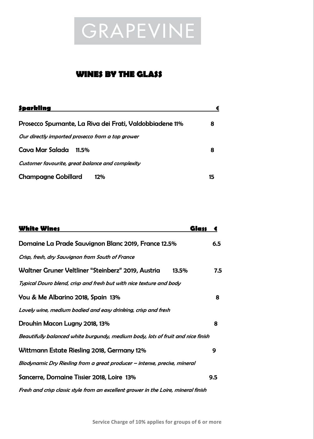 Grapevine Drinks Menu Wines By The Glass